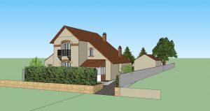 Modélisation extérieure de la maison et de l'extension - 2