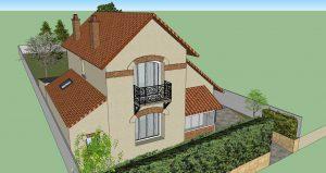 Modélisation extérieure de la maison et de l'extension - 3